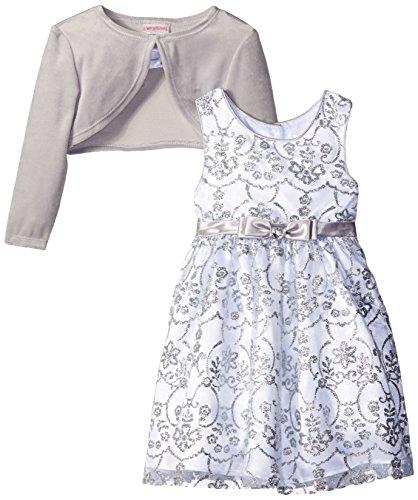 Youngland Little Girls' 2 Piece Dress Set Velour Cardigan...