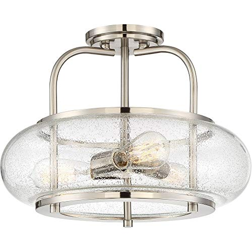 Quoizel TRG1716BN Trilogy Glass Lantern Semi Flush Mount Ceiling Lighting, 3-Light, 300 Watts, Brushed Nickel (12