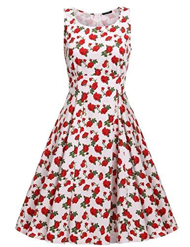 Cindere Millésime Robe De Cocktail Swing Robe Imprimé Floral Vintage Robe À Fleurs De 1950 Cocatail Flare Robes Robes Rouges