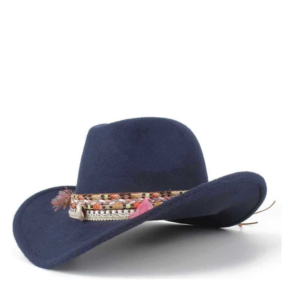 MUMUWU Women's Winter Wide-Brimmed Cowboy Western Fashion Cowgirl Bowler Fedora Hat Colorful Fringe Belt Jazz Cap (Color : Dark Blue, Size : 56-59cm)