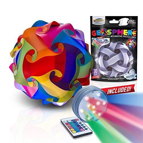 GEOSPHERE 12 Inch - 30 pc Rainbow Colors Lamp Kit Complete with Wireless LED Light