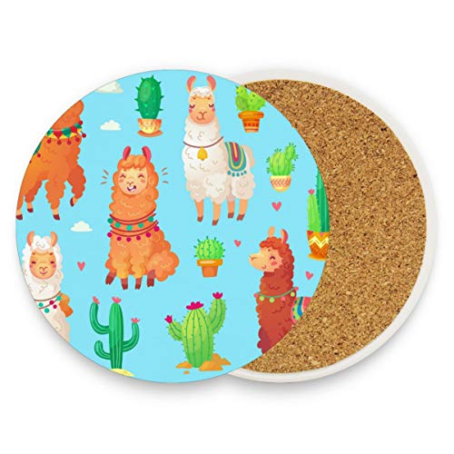 Cute Alpaca White Wool Peru Desert Llama Cactus Drink Coaster Mats, Green Succulent Plants Round Drinks Coffee Cup Mat Pad Holder for Living Room Bedroom Kitchen Office Table Home Decor Set of 2]()