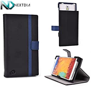Lenovo A859 Stand and Case Cover   Sliding Camera Access   Black and Midnight Blue + ND VELCRO TIE