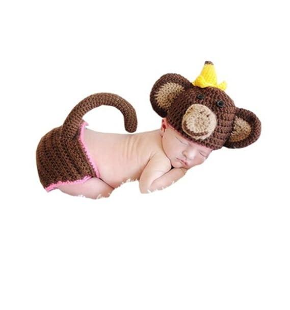 c212ba86217 Amazon.com  Ufraky Newborn Baby Photography Photo Props Crochet Knit Monkey  Hat Shorts Outfit  Clothing