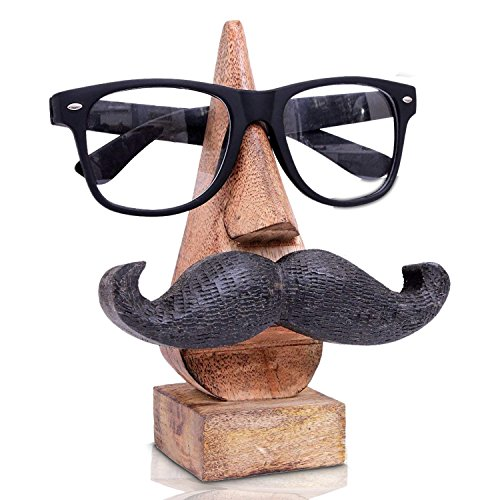 (IndiaBigShop Wooden Hand Carved Classic Sheesham Nose-shaped Eyeglass Spectacle Holder with Black Mustache Perfect)