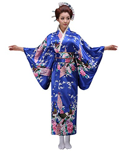 Old Fashion Halloween Costume Ideas (CRB Womens Girls Kimono Japanese Asian Top Dress Robe Sash Belt Fan Set (USA Adult MED, Blue))