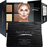 Aesthetica Cosmetics Cream Contour and Highlighting Makeup Kit - Contouring Foundation / Concealer Palette - Vegan, Cruelty Free & Hypoallergenic - Step-by-Step Instructions Included