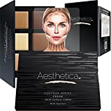 Beauty : Aesthetica Cosmetics Cream Contour and Highlighting Makeup Kit - Contouring Foundation / Concealer Palette - Vegan, Cruelty Free & Hypoallergenic - Step-by-Step Instructions Included