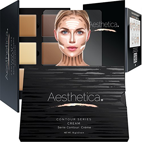 Kit Make Up (Aesthetica Cosmetics Cream Contour and Highlighting Makeup Kit - Contouring Foundation / Concealer Palette - Vegan, Cruelty Free & Hypoallergenic - Step-by-Step Instructions Included)