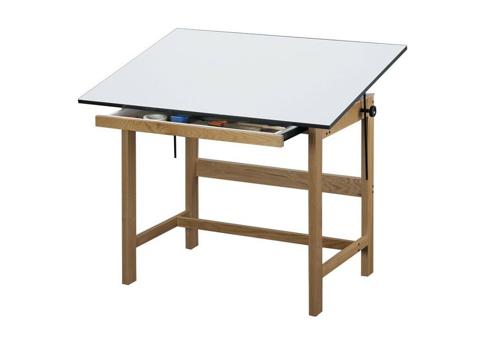 Titan Solid Oak Drafting Table - 48'' X 36'' Natural Oak Finish Dimensions: 48''W X 36''D X 37''H Weight: 90 Lbs by Alvin (Image #1)