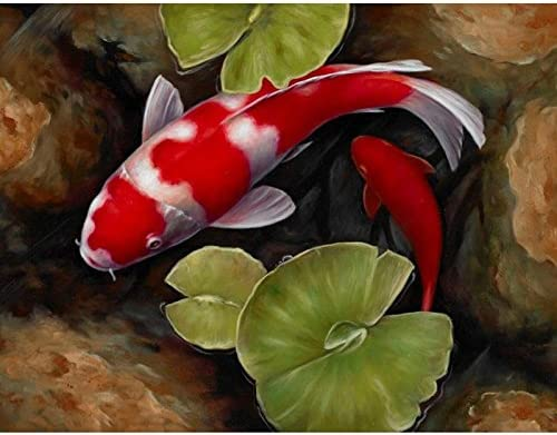 24x34cm Full Square Red Koi Fish Lotus Feng Shui Animal Landscape Canvas Diamond Painting Wall Art Picture for Diamond Embroidery Cross Stitch