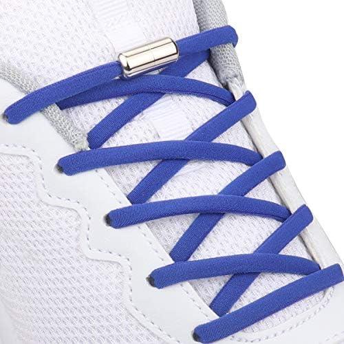 が2足 靴紐 結ばない 靴ひもはスニーカーランニングシューズのための金属フックの安全ボ付きネクタイ靴ひもカジュアルシューズ