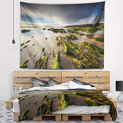 Designart TAP14645-39-32 'Furnas Virgin Beach Galicia Spain' Seashore Tapestry Blanket Décor Wall Art for Home and Office, Medium: 39 in. x 32 in. by Designart
