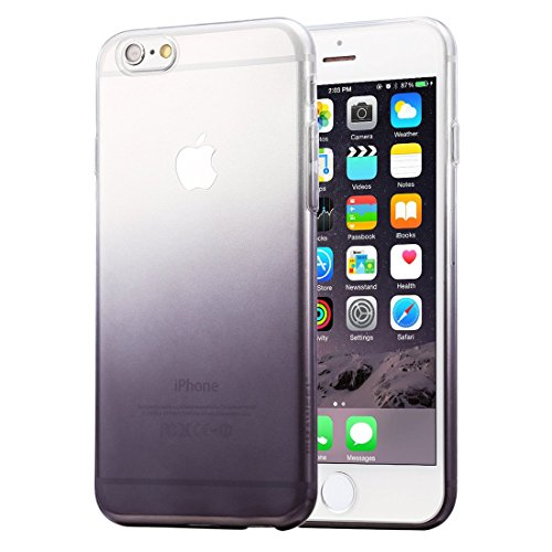 HAWEEL® Ultra Slim Gradient Color Clear Soft TPU Case for iPhone 6 & 6s(Black)