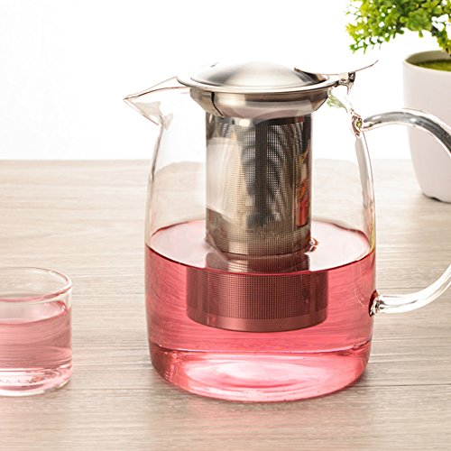 Removable Leaf - Toyo Clear Glass Teapot with Removable Stainless Steel Infuser(1100ml/37oz), Large Enough for 4-5 Cups of Tea ,Stovetop Safe Teapot,Simple Brew Loose Leaf Teapot for Iced Tea or Hot Tea