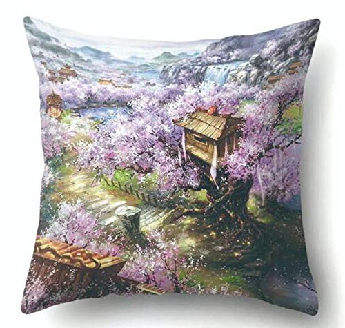 QINU KEONU Oil Painting Spring Cherry Blossom Cabin Cotton Linen Throw Pillow Case Cushion Cover Home Sofa Decorative 18 X 18 Inch (63)