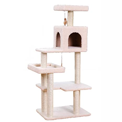 Árboles para gatos Multi-Lever Cat Tree Condo Sisal-Covered Scratching Post, Centro