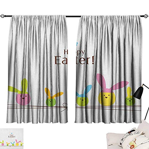 Josepsh Easter Noise Isolation Darkening Curtains Simplistic Cartoon Eggs with Bunny Ears Standing on a Rope Pastel Colored Design Curtain Living Room Multicolor W96 x ()
