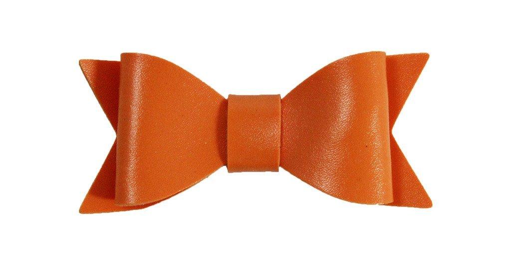 Wholesale Princess 2.5'' Leather Bow Hair Clip-Orange