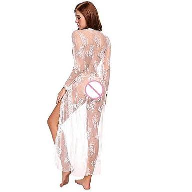 Camisón Sexy para Dormir,YiYLinneo Encaje Nightdress Cardigan Sleepwear Traje de Bata Pijamas Vestidos Largos De Mujer Lingerie: Amazon.es: Ropa y ...