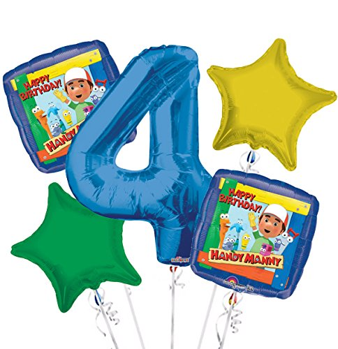 Handy Manny Balloon Bouquet 4th Birthday 5 pcs - Party Supplies