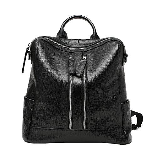 DISSA - Bolso mochila de Piel Lisa para mujer Medium Negro