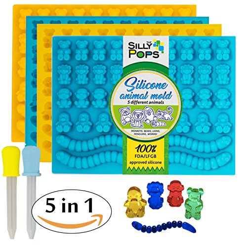 Animals Candy Mold (Non-Stick Gummy Bear Mold Bpa Free Silicone (Yellow, Blue) - Set of 4 for 172 Candies - 5 Different Types of Animals – Dropper Included – Candy Molds, Gummy Worm Mold, Gelatin Molds)