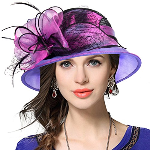 VECRY Lady Derby Dress Church Cloche Hat Bow Bucket Wedding Bowler Hats (Two-Tone-Purple, Medium)