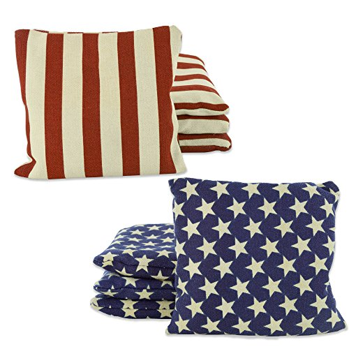 Weather Resistant Cornhole Bean Bags Set of 8 (Stars & Stripes)