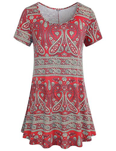 Hibelle Tunic Tshirt, Womens Summer Short Sleeve Round Neck Comfy Shirts for Leggings Cute Loose Fitting Flowy Tee Blouse Knitted Floral Printed Pattern Tunic Tops Red Medium