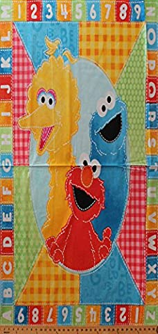 36in x 44in Panel Sesame Street Elmo Cookie Monster Big Bird Oval Frame Alphabet Number Border Cotton Fabric Panel - Big Bird Alphabet