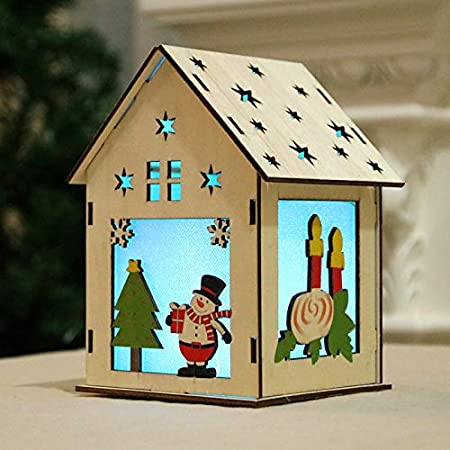Decoraciones navideñas LED,decoración de la casa de madera de Navidad Guirnalda luminosa Casa de madera para la fiesta de bodas Adorno navideño Deco