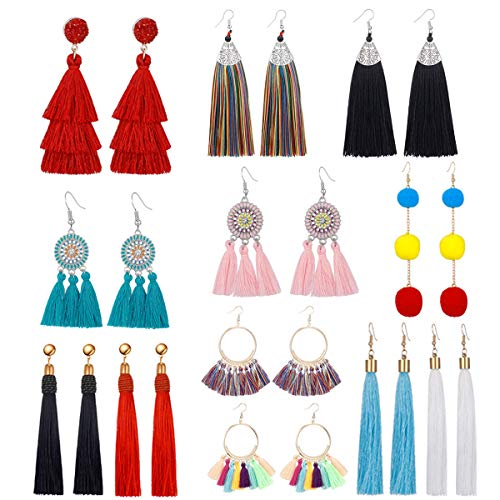 12 Pairs Tassel drop Earrings for Girls Women Colorful Long Layered Bohemian Tiered Thread Ball Dangle Earrings Black Red blue pink Hoop Stud Earrings Set Fashion Jewelry Valentine Birthday Gift