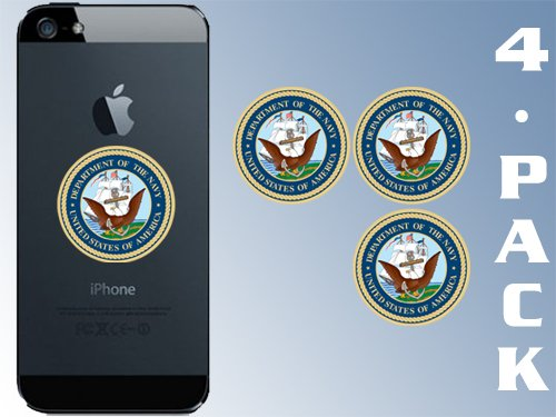Naval Seal Insignia American Vinyl 4-Pack Cell Phone Sized Round US Navy Logo Stickers