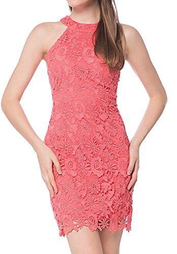 Berydress Women's Full Lining Slimming Sheath Mini Lace Dress (US10, #6010_Coral) - Coral Halter Dress