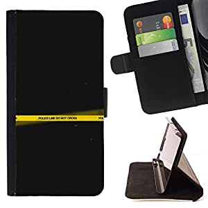 For Sony Xperia Z3 Plus / Z3+ / Sony E6553 (Not Z3) Case , La línea de policía no cruza Arte amarillo- la tarjeta de Crédito Slots PU Funda de cuero Monedero caso cubierta de piel
