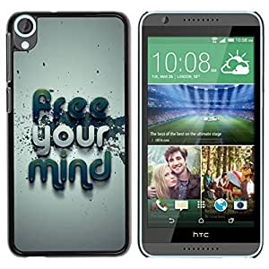 Paccase / SLIM PC / Aliminium Casa Carcasa Funda Case Cover para - Free Your Mind Typography - HTC Desire 820