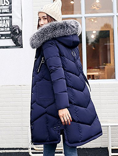Slim Quilted Jacket Puffer Women Hood Fur Long Blue COMVIP Faux Coat 6cE7qOPw