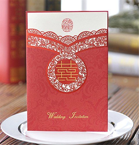 Skyseen 25Pcs Chinese Style Traditional Wedding Party Invitations Cards Set for Marriage Engagement Bridal Shower