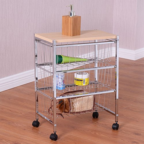 3 Tier Rolling Baskets Rack Storage Trolley Cart Home Kitchen Garage W/Wood (Bustier Sachet)