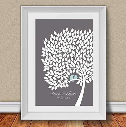 Personalized Wedding Guest Book Alternative Poster. Signing Tree with love birds. 200 leaves. 20x30 inches. Custom Gift for Anniversary, Family Reunion and Bridal shower. -