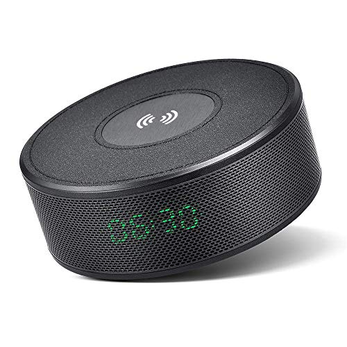 Bluetooth Speaker with Qi Wireless Charger, Alarm Clock, FM Radio, Portable Bluetooth V4.2 Speaker, Built-in Mic for Hands-Free Call, 5 Watts 8-Hour Playtime for iPhone/Samsung