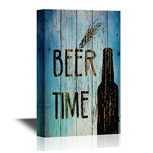Bottle of Beer on Vintage Style Wood Background
