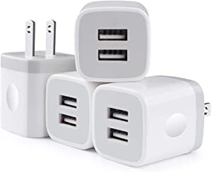 iPhone 12 Charger Cube Fast Charging, 2.1A Dual USB Phone Charger Wall Fast Charger Adapter Plug Box Travel Power Blocks Compatible iPhone SE /12/11 Pro Max,Samsung S20 FE Note 20 Ultra A01 A21 4Pcs