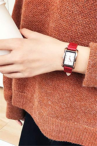 Unique Women Gift Watch Women Girls Students Tide subdial Square sen Style Retro College (red