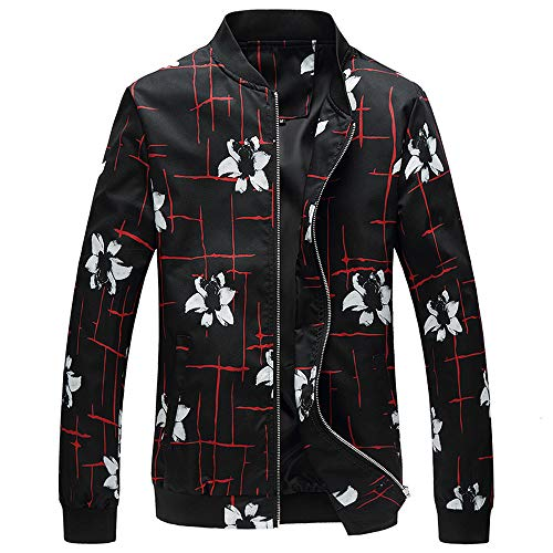 (Men Plus Size Autumn Winter Stand Collar Jacket Baseball Coat Long Sleeve Floral Printed Fashion Casual Outwear Blouse)
