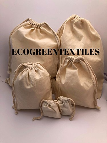Double Drawstring - (PACK OF 100) 100% Organic Cotton Double Drawstring Muslin Bags Natural Color, 12x16 inches