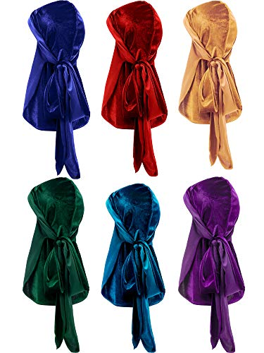Tatuo 6 Pieces Stretchable Luxury Velvet Durag Cap Straps Headwraps with Long Tail and Wide Straps (Color B)