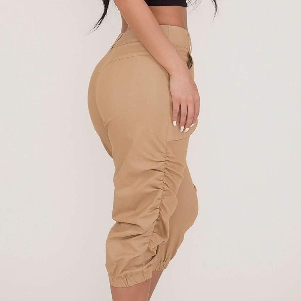 Ansenesna Cargo Hose Damen Capri Kurz High Waist Elegant Haremshose Frauen Einfarbig Vintage Shorts
