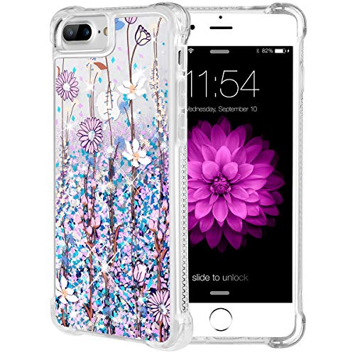 - iPhone 7 Plus Case, Caka iPhone 7 Plus Floral Glitter Case Pink Flower Flowing Luxury Bling Glitter Sparkle Liquid Floating Soft TPU Case for iPhone 7 Plus/8 Plus (5.5 inch) - (Blue Purple)